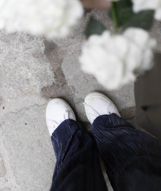 Schnittmuster Damen Hose #palazzo mit Plissee Stoff Tragefoto