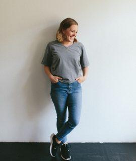Schnittmuster Buch Alles Jersey Basics Nähen Damen T-Shirt Tragefoto